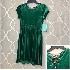 3bbaf13cf65 Copper Key Dresses - Girls Velvet Dress Green Saint Patrick s Lace Up